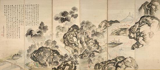 蘭亭曲水・龍山勝会図屏風(右隻)