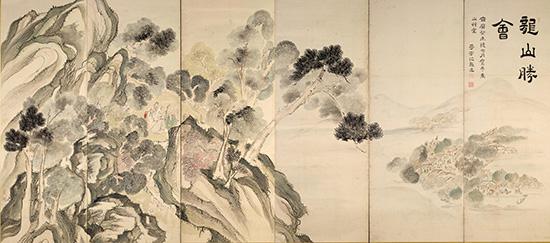 蘭亭曲水・龍山勝会図屏風(左隻)