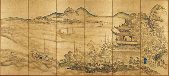 楼閣山水図屏風(右隻)
