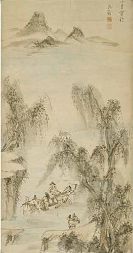 【大判はがき】柳渓渡渉図(部分)池大雅筆 千葉市美術館