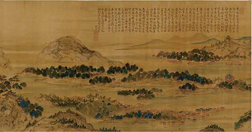 【大判はがき】重要文化財 洞庭赤壁図巻(部分) 池大雅筆 京都国立博物館