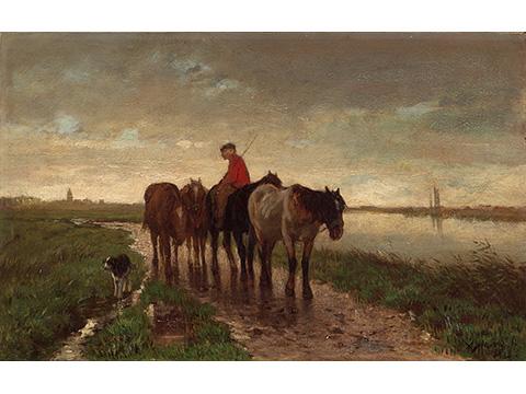 アントン・マウフェ《4頭の牽引馬》