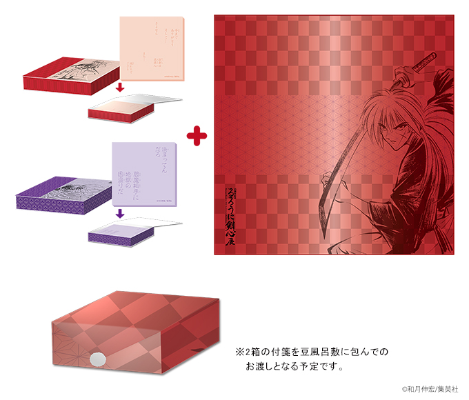 豆風呂敷+小箱入付箋(2箱)セット